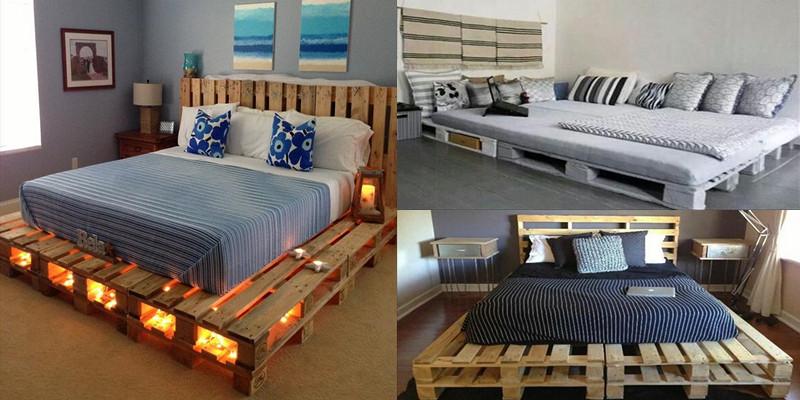 15 hermosos modelos de camas hechos con solamente pallets for Base de cama hecha con tarimas