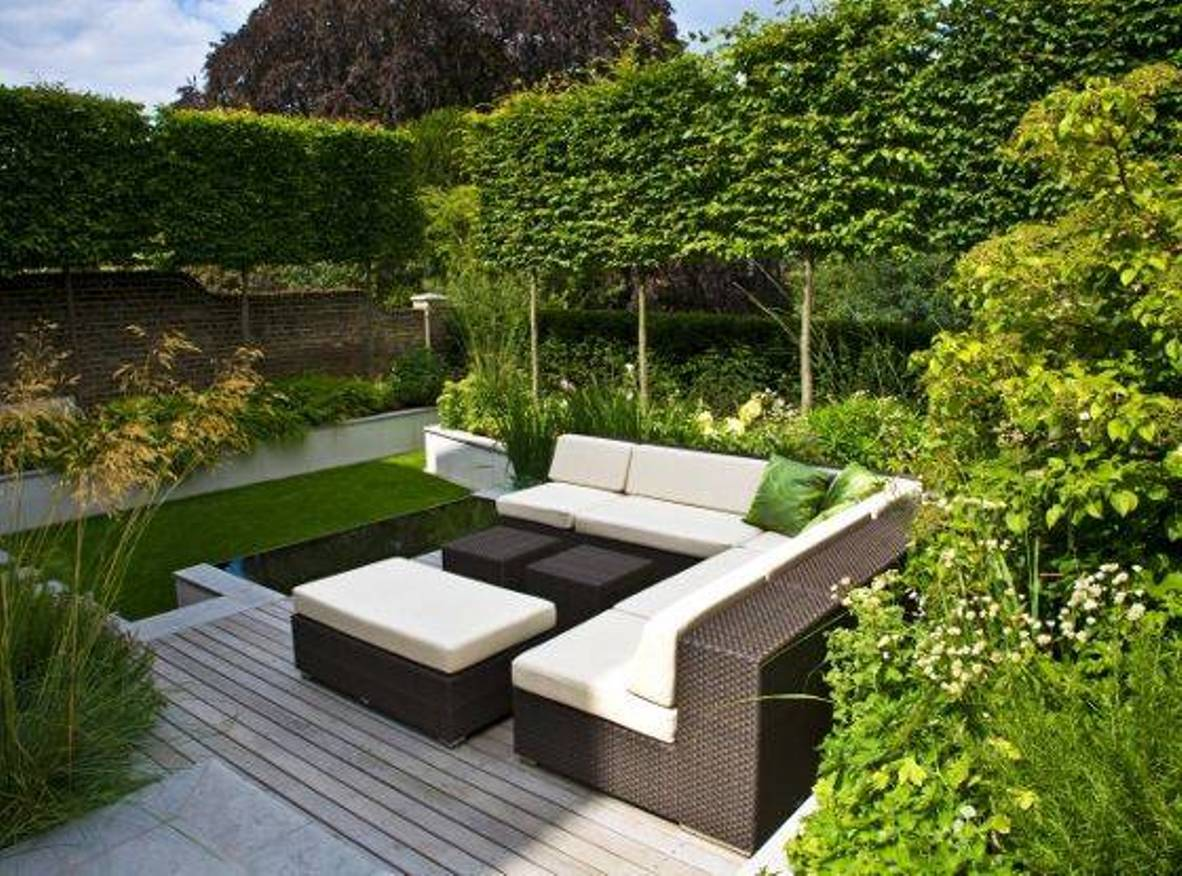 decoracin de jardines actuales lneas rectas y curvas