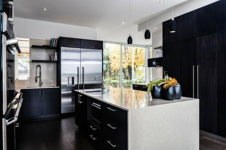 cocinas blancas moderna negra - Cocinas Blancas Y Negras