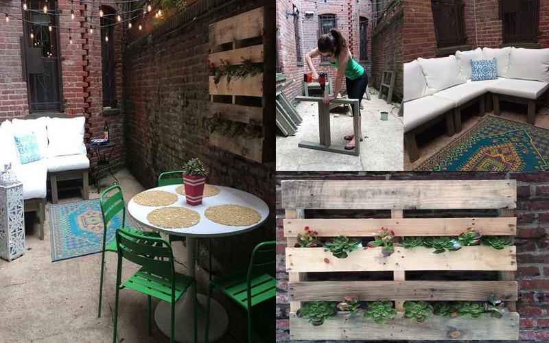 El cambio radical de un patio construyendo solo 3 muebles en un día ...