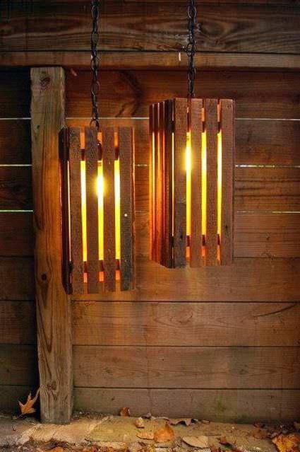 10 Ideas para iluminar con lamparas hechas de pallets – Manos a la Obra
