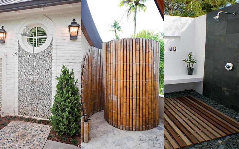 15 ideas para que construyas tu ducha exterior y disfrutar del verano manos a la obra - Duchas para piscinas exterior ...