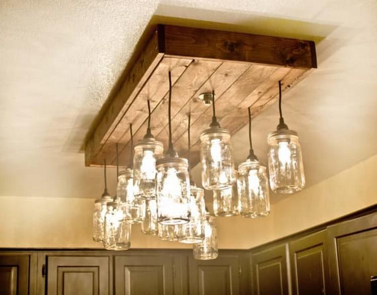 lmpara de paleta de madera como luces de techo