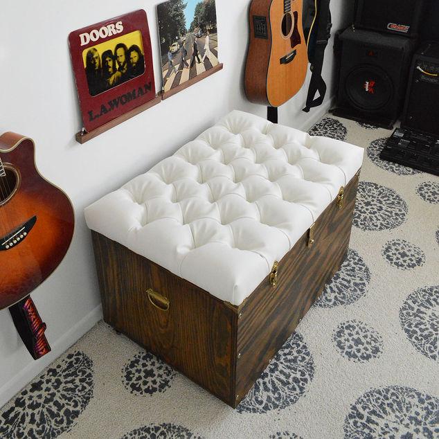 Realiza este genial tapizado abotonado en este banco otomano para tu ...