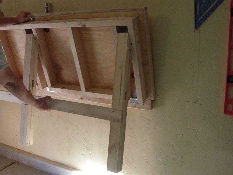 Mira c mo se hizo esta mesa desplegable empotrada a la pared manos a la obra - Mesas plegables de pared ...