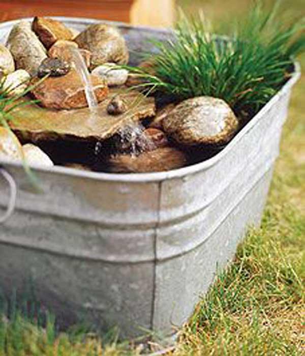 un jardn de agua en de una vieja tina