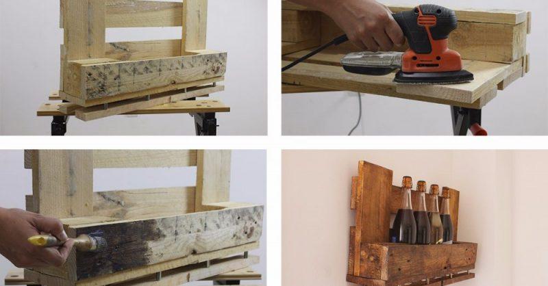 Un botellero reciclado con pallets de madera mira paso a - Botelleros de obra ...
