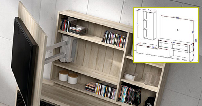 Haz un mueble de tv giratorio con las medidas exactas y la
