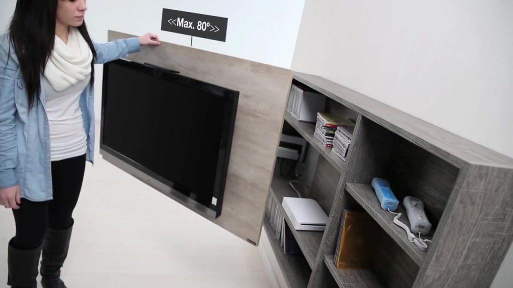 mueble para tv anclado en la pared con base giratoria para televisores de pulgadas sistema muy resistente para el uso constante