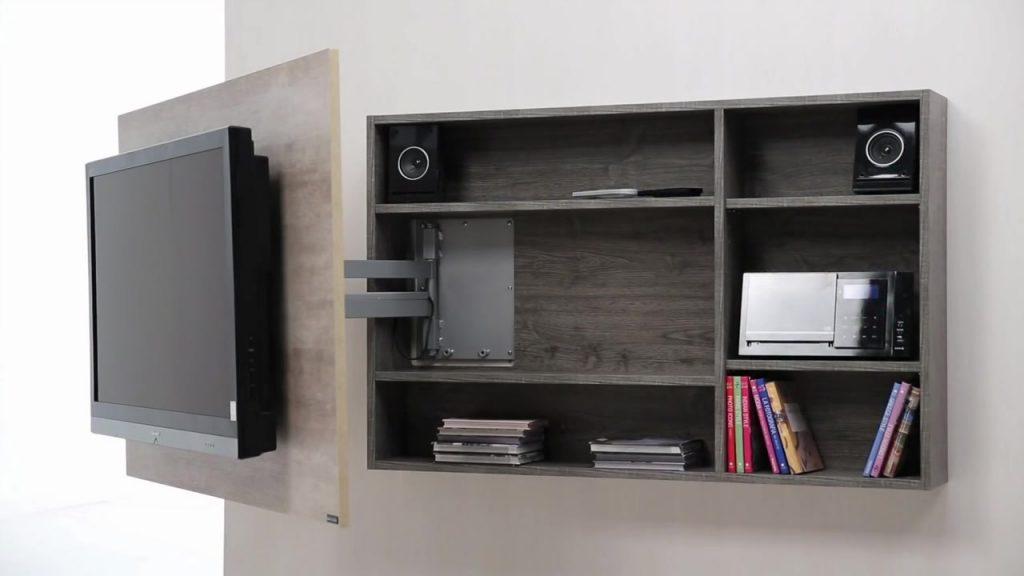 Haz un mueble de tv giratorio con las medidas exactas y la for Mueble tv pared