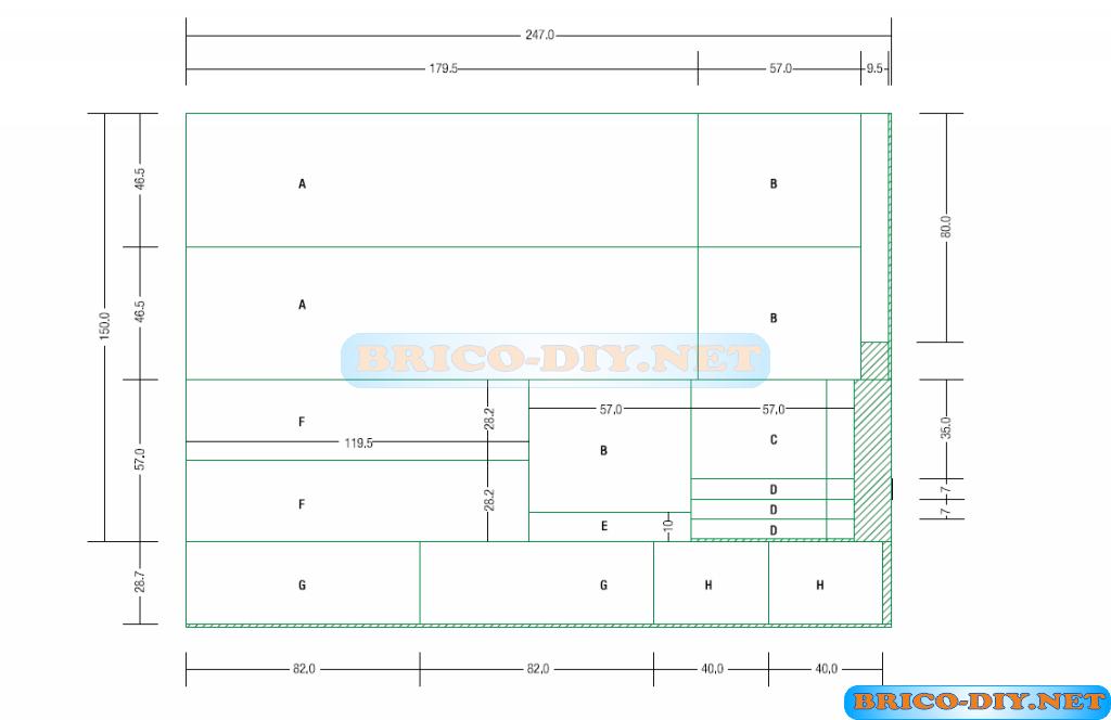Construye un cl set de melamina con las medias exactas for Muebles de cocina planos pdf