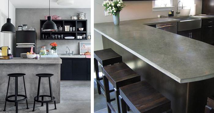 9 dise os de cocinas hechos con concreto que vienen siendo for Cocinas en cemento