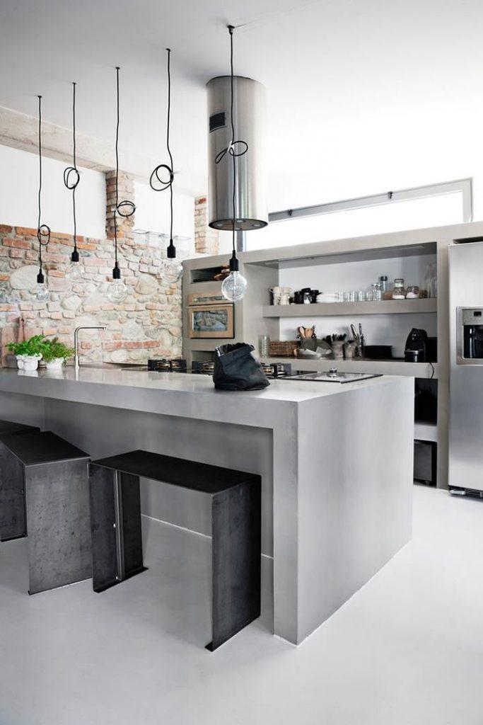 9 dise os de cocinas hechos con concreto que vienen siendo for Cocinas en concreto