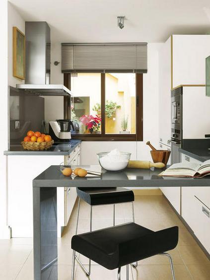 el microondas puede ir encima del lavadero en una repisa espacial - Cocinas Pequeas De Diseo