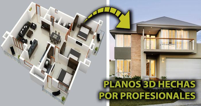 20 planos 3d hechos por profesionales para construir la for Planos de casas pequenas en 3d