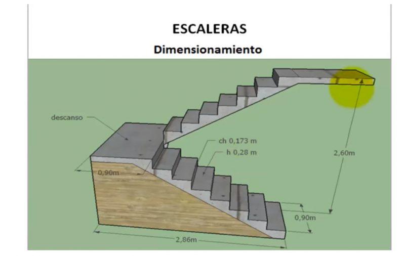 C mo construir diferentes tipos de escalera explicaci n for Escalera de hormigon con descanso