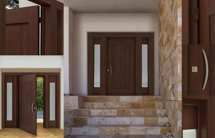Los 15 dise os de puertas para exteriores m s seguras y for Puertas de madera y cristal exterior