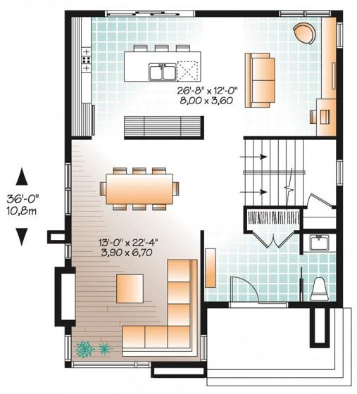 Descarga planos gratis para construir casas de 42 m2 con for Cocina 15 metros cuadrados
