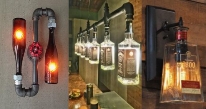 8 tipos de l mparas hechos con botellas de vidrio recicladas manos a la obra - Botelleros de obra ...