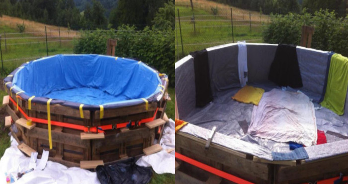 Aprende c mo se hace una piscina de madera con viejos palets reciclados manos a la obra - Como se hace una piscina ...